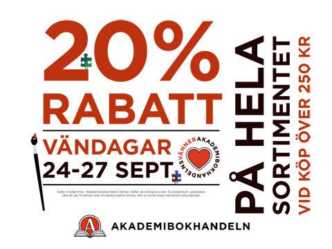 Vändagar med 20% rabatt, 24/27 september